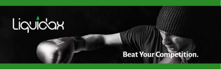 Liquidax-banner-promoting-beat-your-competition-man-with-boxing-glove
